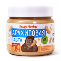 "Скидка! ""Happy Monkey"" Арахисовая паста ""С Медом"" 330гр"